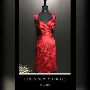 Jones New York Satin Red Dress - Lady In Red